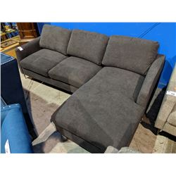 MODERN CHARCOAL PILLOWBACK SOFA WITH CHAISE LOUNGE