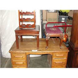 ANTIQUE OAK DESK WITH ASSORTED FURNITURE