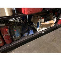 SHELF LOT OF ASSORTED FIRE EXTINGUISHERS, FLUIDS, HOSE & MORE