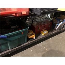 ASSORTED POWER TOOLS, MEASURING TAPES,TOOL BOX & MORE