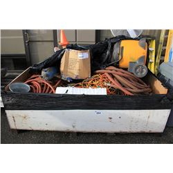 BIN OF ASSORTED HOSE, EXTENSION CORDS, VACUUM & MORE