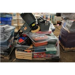 PALLET OF ASSORTED TOOLS, TOOL BOXES & MORE