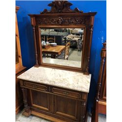ANTIQUE SOLID MAHOGANY SOLID MARBLE TOP 2 DRAWER VANITY WITH MIRROR
