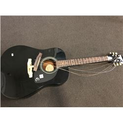 BLACK EPIPHONE 6 STRING ACOUSTIC GUITAR (DAMAGED)