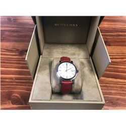 BURBERRY WOMENS SWISS THE CLASSIC RED CHECK EMBOSSED LEATHER STRAP WATCH