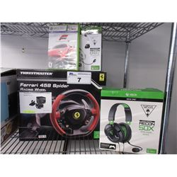 XBOX THRUSTMASTER FERRARI 458 SPIDER RACING WHEEL, TURTLE BEACH RECON CHAT HEADSET, TURTLEBEACH