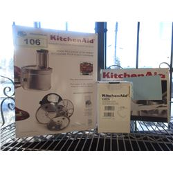 KITCHENAID FOOD PROCESSOR ATTACHMENT, DOUGH HOOK & ONE PIECE POURING SHIELD ATTACHMENTS