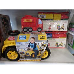 MEGA BLOKS CAT 3-IN-1 EXCAVATOR RIDE-ON, 2 PACKS OF EDU-BLOCKS & FIRETRUCK LUNCH KIT