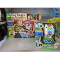 LEAP FROG SCOOP & LEARN ICE CREAM CART, LEAP FROG SPIN & SING ALPHABET ZOO