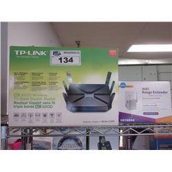TP-LINK AC3200 WIRELESS TRI-BAND GIGABIT ROUTER & NETGEAR N300 WI-FI RANGE EXTENDER