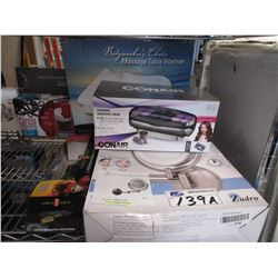 MASSAGE TABLE WARMER, ZADRO 10X MAG CORDLESS LED MIRROR, CRIMPING IRON & CONAIR XTREME HEAT ROLLERS