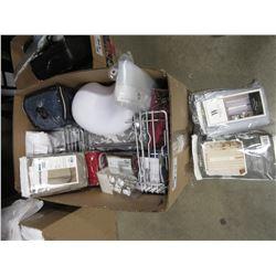 BOX OF ASSORTED LINEN, SHOWER CADDY, BATH PILLOW, SHOWER CURTAIN HOOKS, ETC