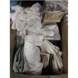BOX OF ASSORTED LINEN, OVER-THE-DOOR BATH ORGANIZER, MISC