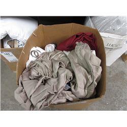 BOX OF ASSORTED LINEN, XMAS SOAP DISPENSER, TOWELS, CURTAIN PANELS, ETC