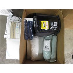 BOX OF ASSORTED LINEN, BBQ COVER, MISC