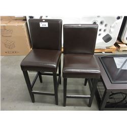 2 BROWN OVERHEIGHT CHAIRS