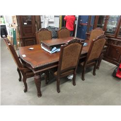NEW CARVED DINING TABLE & CHAIRS WITH SIDEBOARD & HUTCH (2 LEAFS INCLUDED)