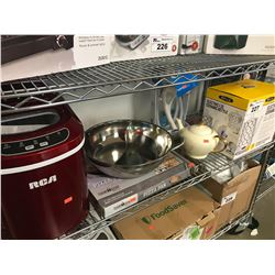 RCA ICE MAKER, PIZZA PAN, BELLA ELECTRIC CERAMIC KETTLE, OXYGEN BODY SPA HOSE, WHISK, SEPARATED PAN