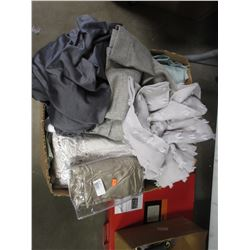 BOX OF ASSORTED LINEN (COVERS, CURTAIN PANELS, ETC)