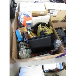 BOX OF ASSORTED DECORATIONS, HOUSEHOLD ITEMS, VOLLEYBALL, DVDS, ELECTRONICS, ETC