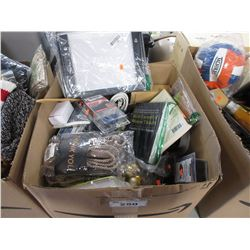 BOX OF ASSORTED HOUSEHOLD DECOR, BOOKS, CORDS, XMAS DECOR, ETC