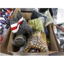 BOX OF ASSORTED LINEN, CHAIR BEADS, BOOKS, INFLATABLE WATER TOY, MISC
