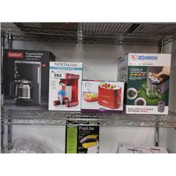BODUM PROGRAMMABLE COFFEE MAKER, NOSTALGIA RETRO SNOW CONE MAKER, NOSTALGIA HOT DOG MACHINE,