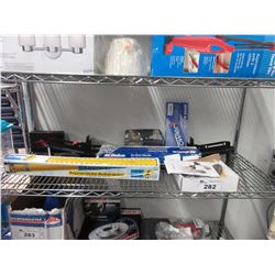 LOT OF ASSORTED AUTOMOTIVE PARTS & EQUIPMENT (MIRROR, DEPTH GAGE, BAR. GAS PRESSURE SHOCK ABSORBER,