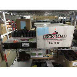 MOTORCYCLE LOCK 'N LOAD TRANSPORT SYSTEM, WIDE 1100LB MOTORCYCLE SCISSOR JACK, SNOW SHOVEL HEAD