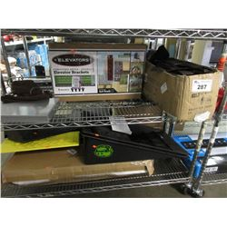 ELEVATOR BRACKETS, COMMERCIAL CLIPBOARD, TOOL POUCH, SKATEBOARD RAMPS, TV MOUNT, VEHICLE RAMPS