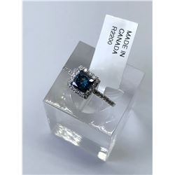 14KT. WHITE GOLD BLUE DIAMOND (0.64CT) W/ SIDE DIAMONDS (0.30CT) RING (SIZE 7)