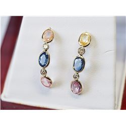 14KT. GOLD FANCY COLOUR (3.60CT) DIAMOND (0.15CT) EARRINGS (COLOURS MAY VARY)