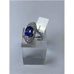 14KT. WHITE GOLD TANZANITE (2CT) & CUBIC CRYSTALS RING (SIZE 8) APPRAISED VALUE $1635.00
