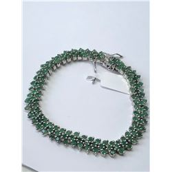 SILVER NATURAL EMERALD (8.24CT) BRACELET
