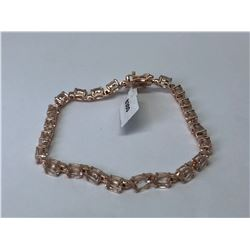 SILVER ROSE GOLD PLATING MORGANITE (7.70CT) BRACELET (10.7GRMS)