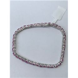 STERLING NATURAL ENHANCED RUBY (7.00CT) BRACELET (9.7GRMS) HAND CRAFTED IN CANADA
