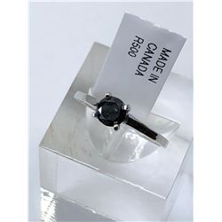10KT. WHITE GOLD BLACK DIAMOND (0.50CT) RING (SIZE 7)