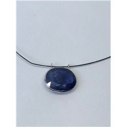 14KT. WHITE GOLD NATURAL ENHANCED SAPPHIRE (10CT) NECKLACE HAND CRAFTED IN CANADA