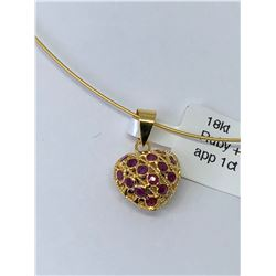 18KT. GOLD SAPPHIRES AND RUBIES (1.00CT) HEART SHAPED PENDANT NECKLACE MADE IN CANADA.