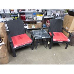 NEW PARAMOUNT WHYLIE 3 PC BLACK RATTAN & GLASS CHAT SET