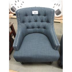 NEW NAVY BLUE STUDDED/BUTTONED BACK CHAIR