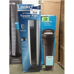 "LASKO 37"" OSCILLATING TOWER FAN & HOLMES 31"" TOWER FAN"