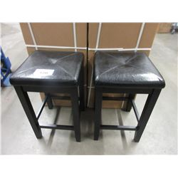 2 NEW LEATHER & WOOD STOOLS