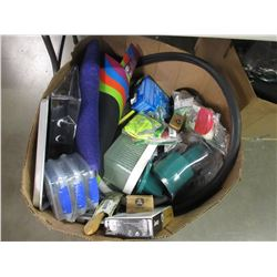 BOX OF ASSORTED HOUSEHOLD ITEMS, REPLACEMENT BIKE TIRE TUBES, ELECTRONIC WATER TIMER, MISC