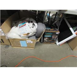 LOT OF DOG FOOD, DOG FOOD DISPENSER, DOGGY DOORS, ETC,
