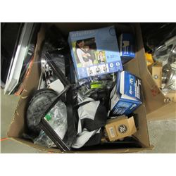 BOX OF ASSORTED HOUSEHOLD ITEMS, BIKE TIRE TUBE REPLACEMENTS, FOCUS PAD, MISC
