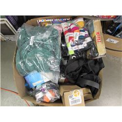 BOX OF ASSORTED LINEN, GAMES, YARN, TOOTHBRUSH, ELECTRONICS, BIKE TIRE TUBES, ETC