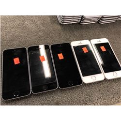 5X APPLE IPHONE 5S, 3X, SPACE GREY, 2X WHITE, PASSCODE/ICLOUD UNLOCKED, CAPACITY UNKNOWN, AS-IS