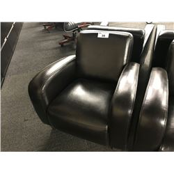 DARK BROWN LEATHER RECEPTION CHAIR