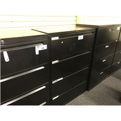 BLACK 4 DRAWER LATERAL FILE CABINET